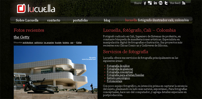 nuevo diseno pagina web lucuella fotografo cali colombia