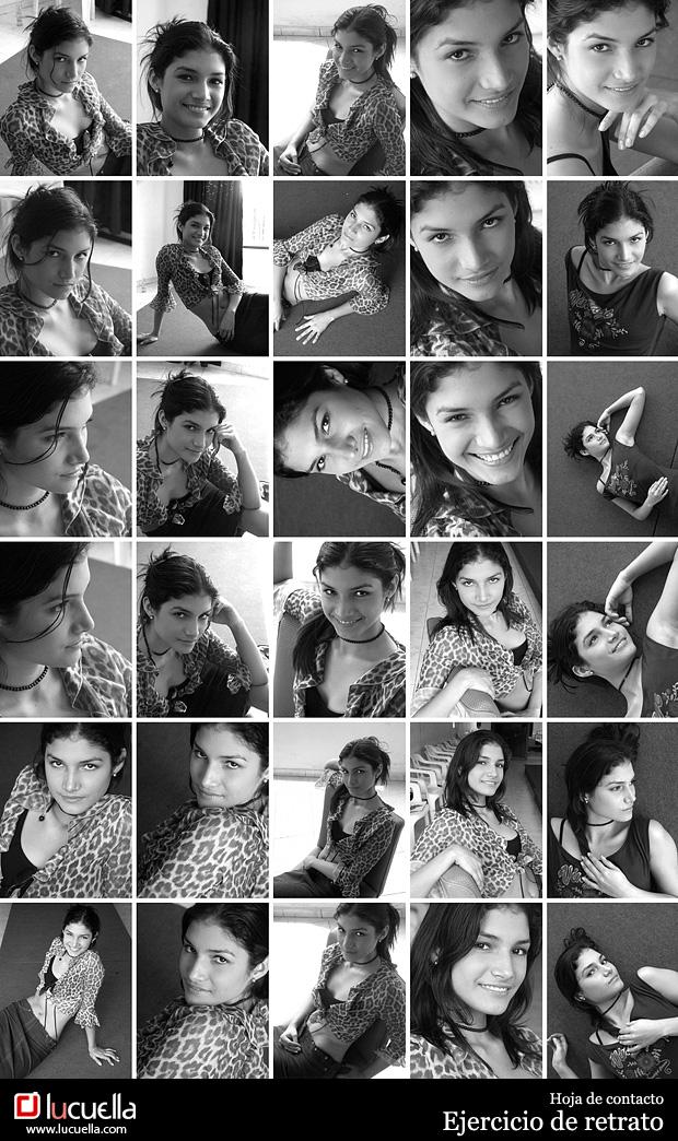hoja de contacto - fotografía de retrato de modelos