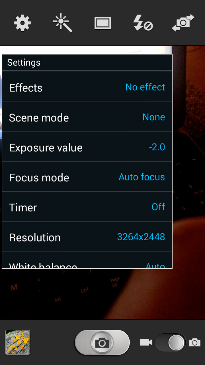 Samsung Galaxy III - camera settings