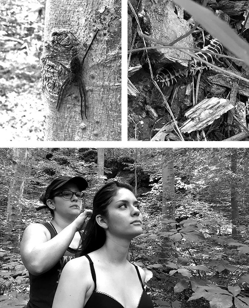 Insectos del bosque, mi esposa ajustando el pelo de la modelo durante la sesión.